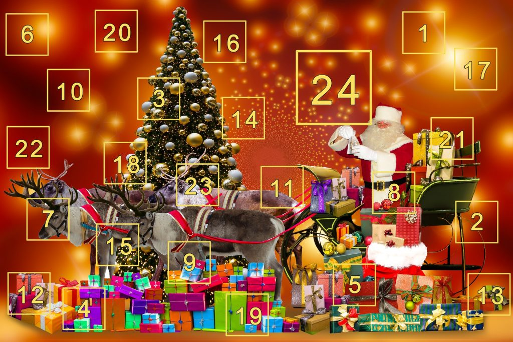 A traditional German advent calendar depicting a Christmas scene. The numbers one through twenty-four are written in gold.
