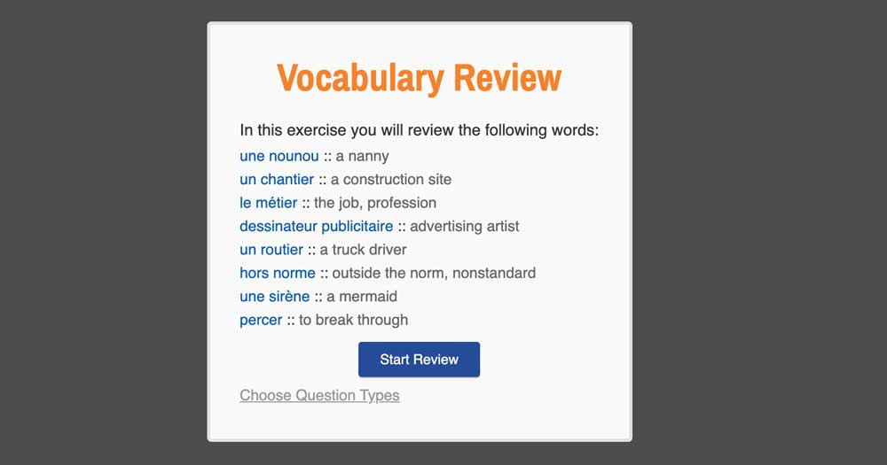 intermediate french lessons - vocabulary review